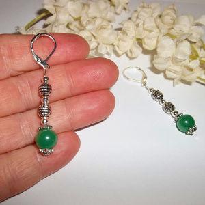 wvluckygirl Jewelry - Faux Jade Green Beaded Earrings Handmade Drop 4990